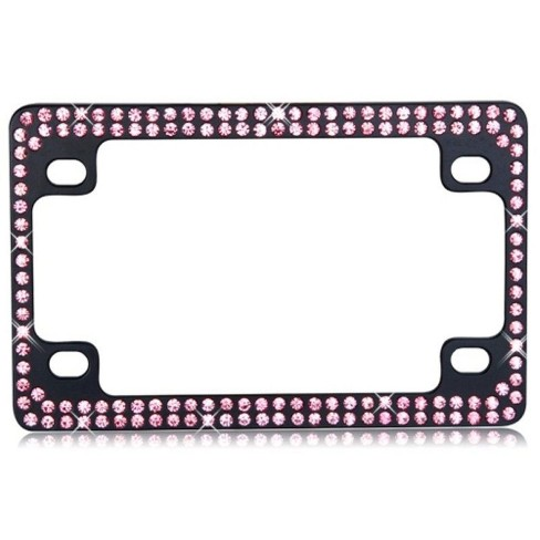 MYBAT Double Row Black Metal Motorcycle Frame with Pink Crystals - image 1 of 3