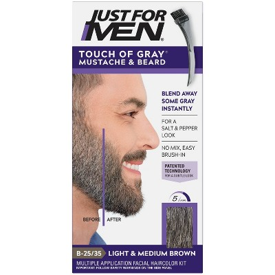 Touch of Gray Mustache & Beard Color - Light & Med Brown