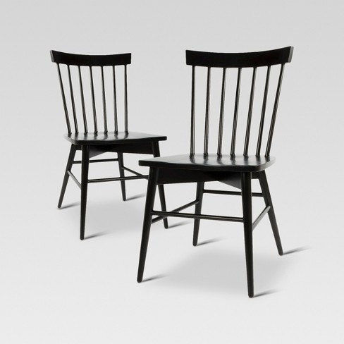 Set of 2 Windsor Dining Chair Black - Threshold™ - image 1 of 4