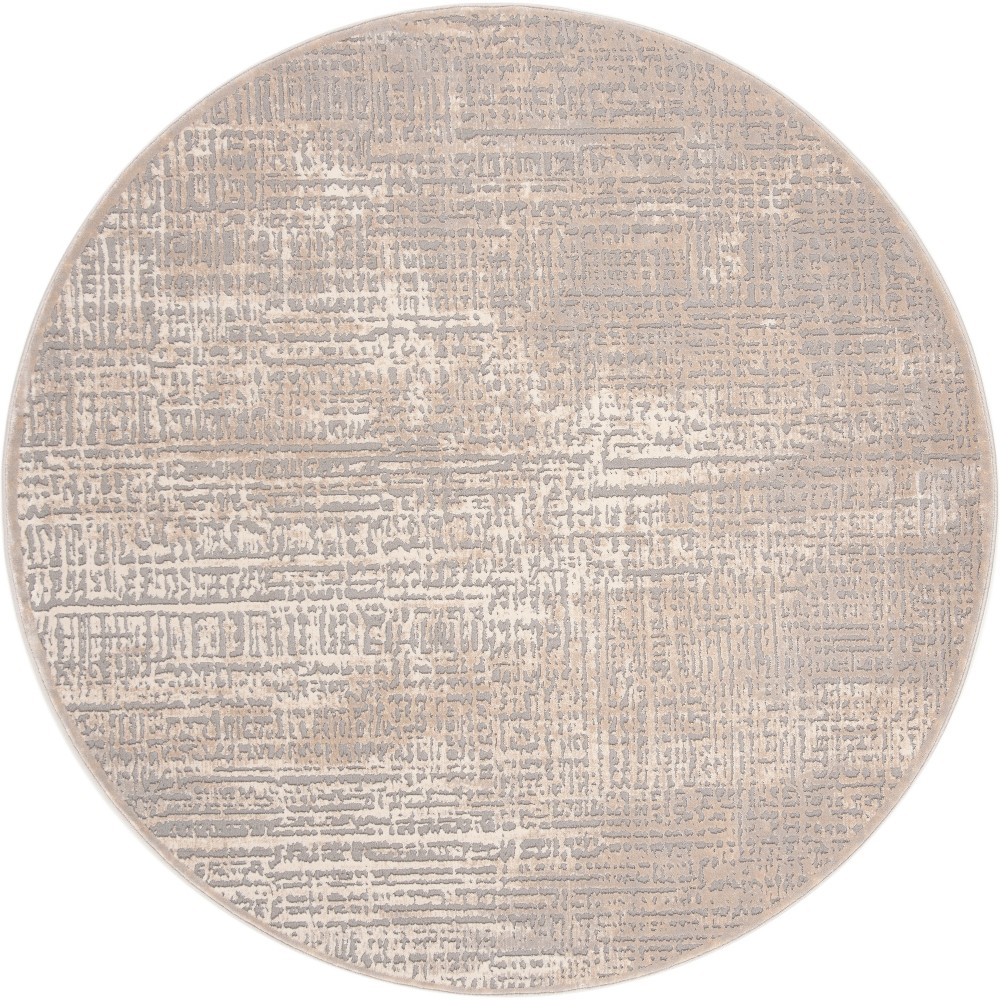 6 7 Solid Loomed Round Area Rug Ivory Gray Safavieh