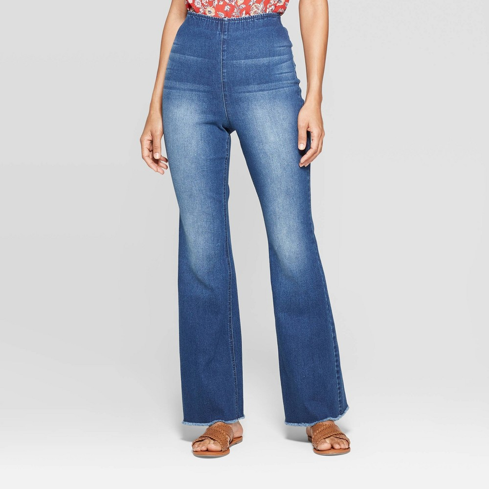 Women's Mid-Rise Wide Leg Pocket Fashion Pants - Knox Rose Blue XL