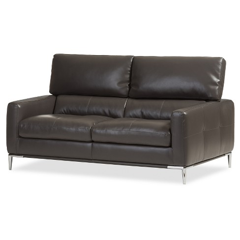 Vogue Modern and Contemporary Pewter Bonded Leather Upholstered Living Room 2 - Seater Loveseat Settee - Dark Gray - Baxton Studio - image 1 of 6