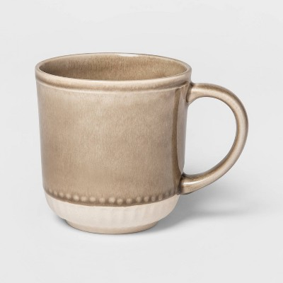 13.5oz Stoneware Breman Embossed Mug Taupe - Threshold™
