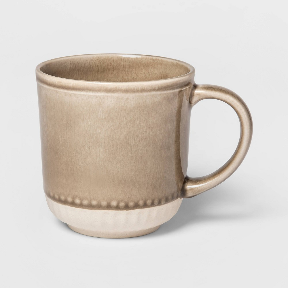 Image of 13.5oz Stoneware Breman Embossed Mug Taupe - Threshold , Beige