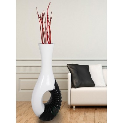 Uniquewise Modern Black and White Large Floor Vase - 43 Inch