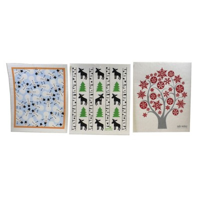 "Swedish Dish Cloth 7.75"" Winter Christmas  Dish Cloths Absorbant Eco-Friendly  -  Dish Cloth"