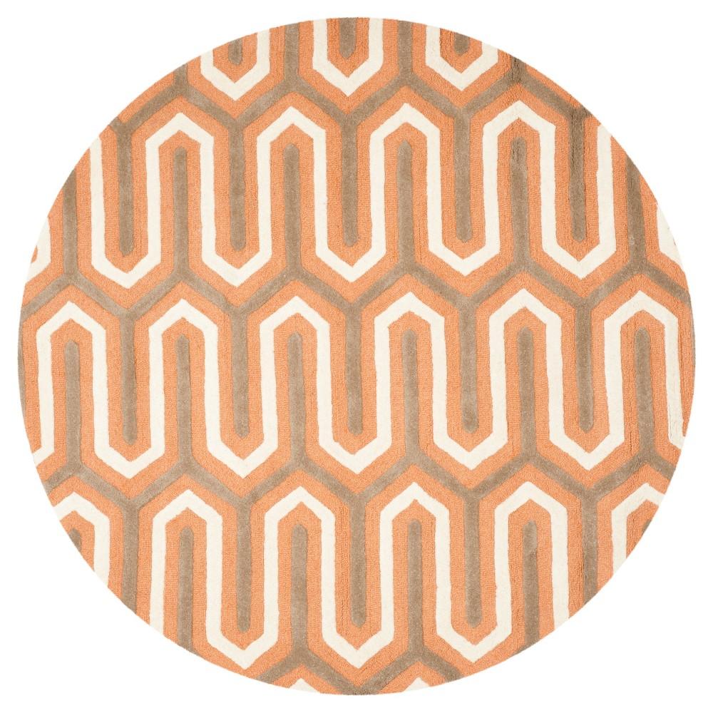 Aveline Textured Area Rug - Orange/Gray (6' Round) - Safavieh