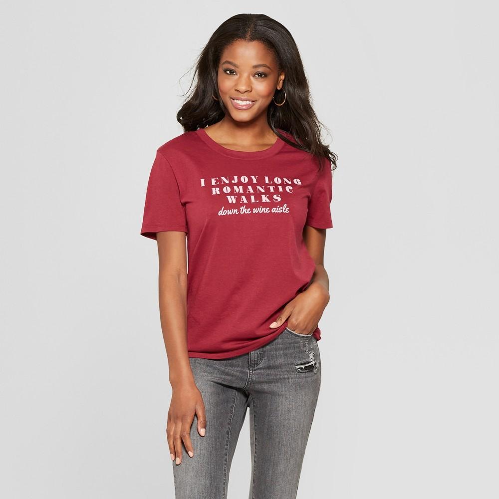 Women's Short Sleeve Romantic Walks Graphic T-Shirt - Fifth Sun Burgundy Xxl, Red