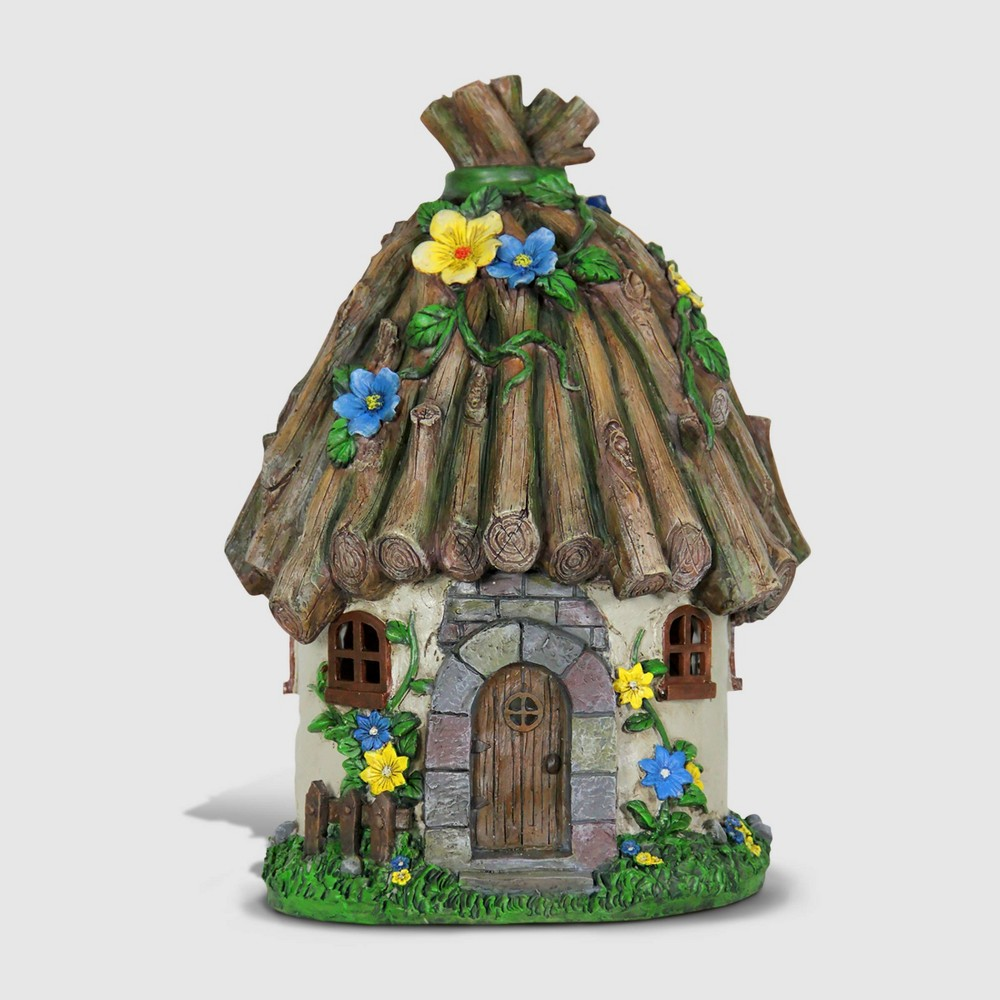 Best Discount 15 Resin Solar Twig Roof House Brown Exhart