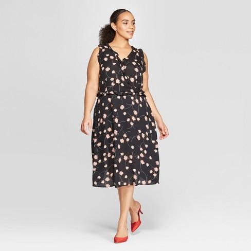 5166295c938 Women's Plus Size Sleeveless Ruffle Detail Wrap Midi Dress - Who What Wear™  : Target