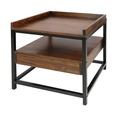 Horizon End Table with Drawer Mocha Brown/Black - Flora Home