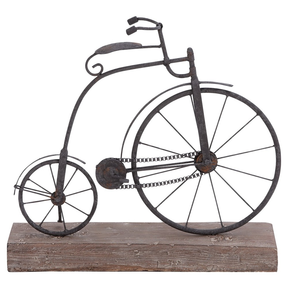 Vintage Reflections Rustic Iron and Wood Penny-Farthing Model Bicycle (14) - Olivia & May, Black