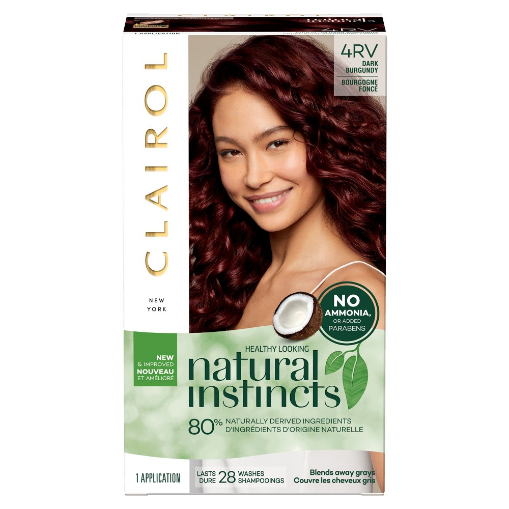 Image of Clairol Natural Instincts Non-Permanent Hair Color - 4RV Dark Burgundy, Rich Plum - 1 kit, 4RV Dark Red