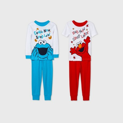 Toddler Boys' 4pc Sesame Street Snug Fit Pajama Set - White