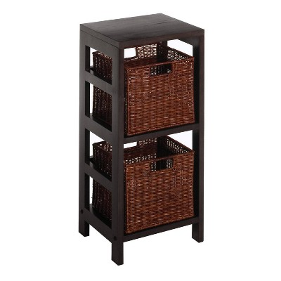 "29.21"" 3pc Leo Shelf and Baskets Espresso Brown - Winsome"