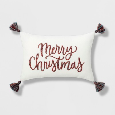 Merry Christmas' Lumbar Throw Pillow With Tassels Cream/Red - Opalhouse™