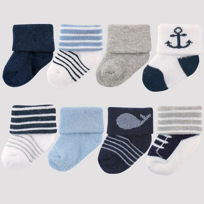Luvable Friends Baby Boys' 8pk Socks, Nautical - Blue 0-6M
