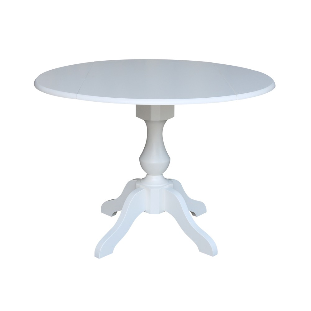42 Matt Round Dual Drop Leaf Pedestal Table White - International Concepts was $429.99 now $322.49 (25.0% off)