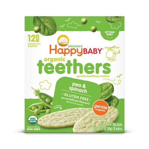 HappyBaby Pea & Spinach Organic Teethers - 12ct/0.14oz Each - image 1 of 3