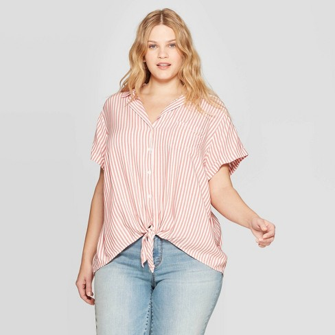 6debe8996d5 Women s Plus Size Striped Short Sleeve Collared Tie Front Shirt ...