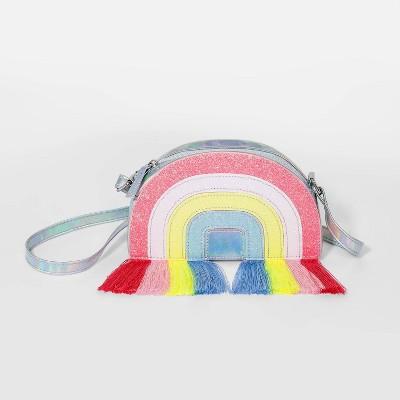 Girls' Rainbow Fringe Crossbody Bag - Cat & Jack™ Blue/Orange/Pink