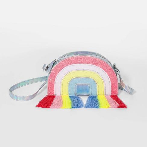 Girls' Rainbow Fringe Crossbody Bag - Cat & Jack™ Blue/Orange/Pink - image 1 of 1