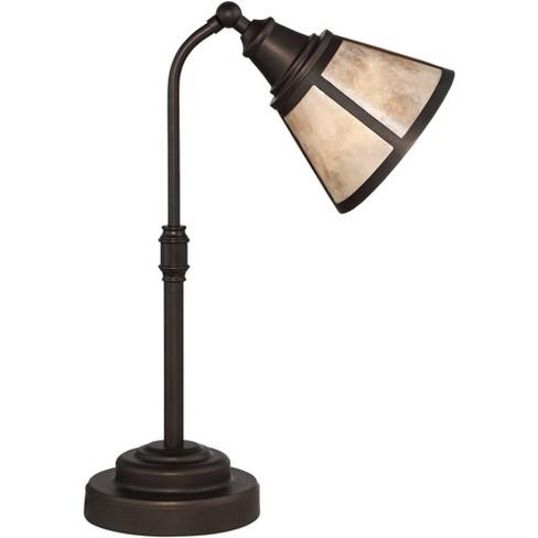 Regency Hill Farmhouse Desk Table Lamp Satin Bronze Blond Natural Mica Shade for Living Room Bedroom Bedside Office Family - image 1 of 4