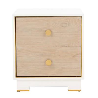 Koa 2 Drawer Side Table White/Gold - Safavieh