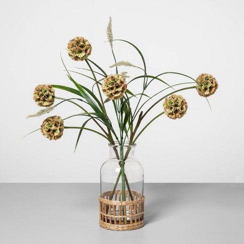 """18"""" x 14"""" Artificial Pod Flower Arrangement in Glass Vase Green/Clear - Opalhouse™ - image 1 of 1"""