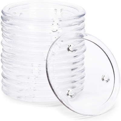"""Okuna Outpost 12-Pack 5"""" Clear Crystal Glass Pillar Candle Plate Holder"""