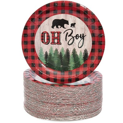 "Blue Panda 80-Pack Oh Boy Buffalo Plaid Disposable Paper Plates 7"" Baby Shower Party Supplies"