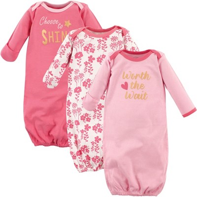 Luvable Friends Baby Girl Cotton Long-Sleeve Gowns 3pk, Worth The Wait, 0-6 Months