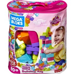 Mega Bloks Big Building Bag - Pink 80pc