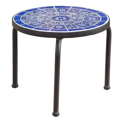Slate Ceramic Tile Side Table - Blue/White - Christopher Knight Home