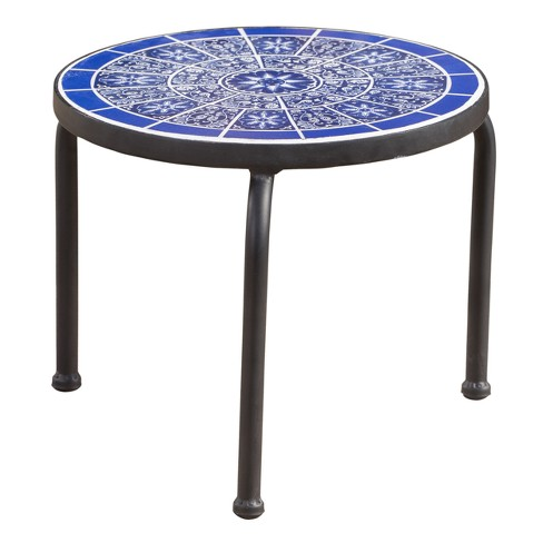 Slate Ceramic Tile Side Table - Blue/White - Christopher Knight Home - image 1 of 4