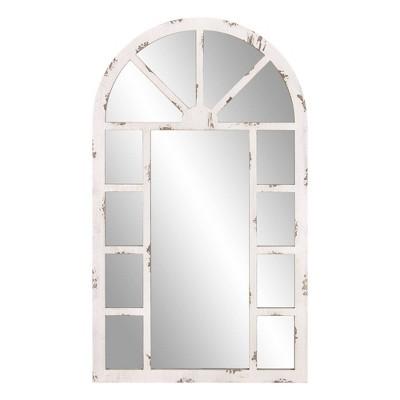"""24"""" x 40"""" Arch Windowpane Decorative Wall Mirror Off White - Patton Wall Decor"""