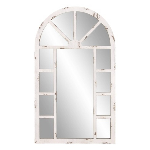 24 X 40 Arch Windowpane Decorative, White Decorative Window Pane Mirror