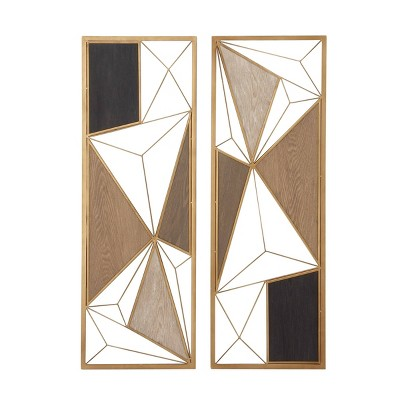 "(Set of 2) 12"" x 35"" Metal and Wood Large Rectangular Modern Style Wall Plaques - CosmoLiving by Cosmopolitan"