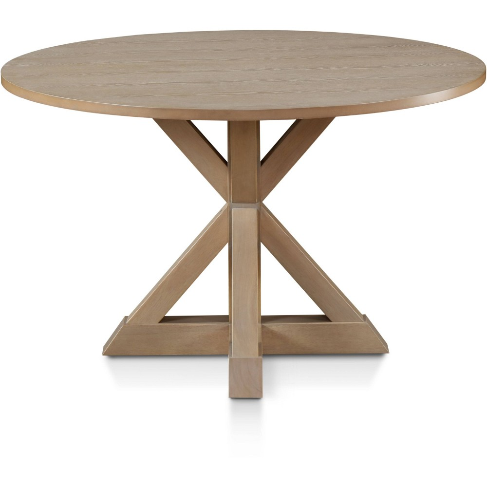 Image of Alfred Round Dining Table Rustic Beige - Finch