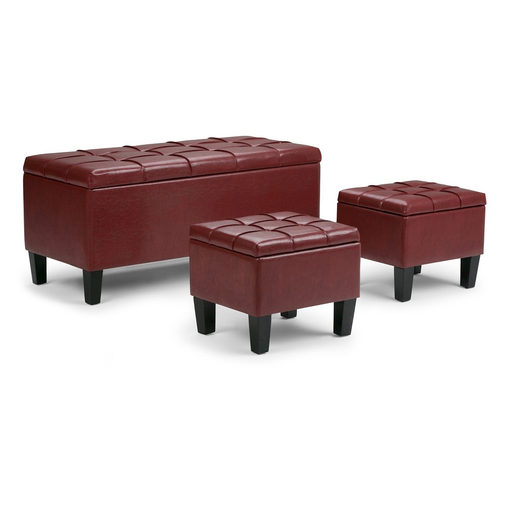Lancaster 3pc Storage Ottoman Radicchio Red Faux Leather - Wyndenhall