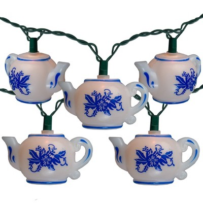 Kurt S. Adler 10-Count White and Blue Floral Teapot Christmas Light Set, 11.4ft Green Wire