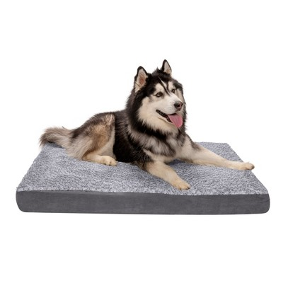 FurHaven Two-Tone Faux Fur & Suede Deluxe Orthopedic Mattress Dog Bed