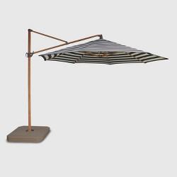 11' Offset Cabana Stripe Patio Umbrella - Light Wood Pole - Threshold™