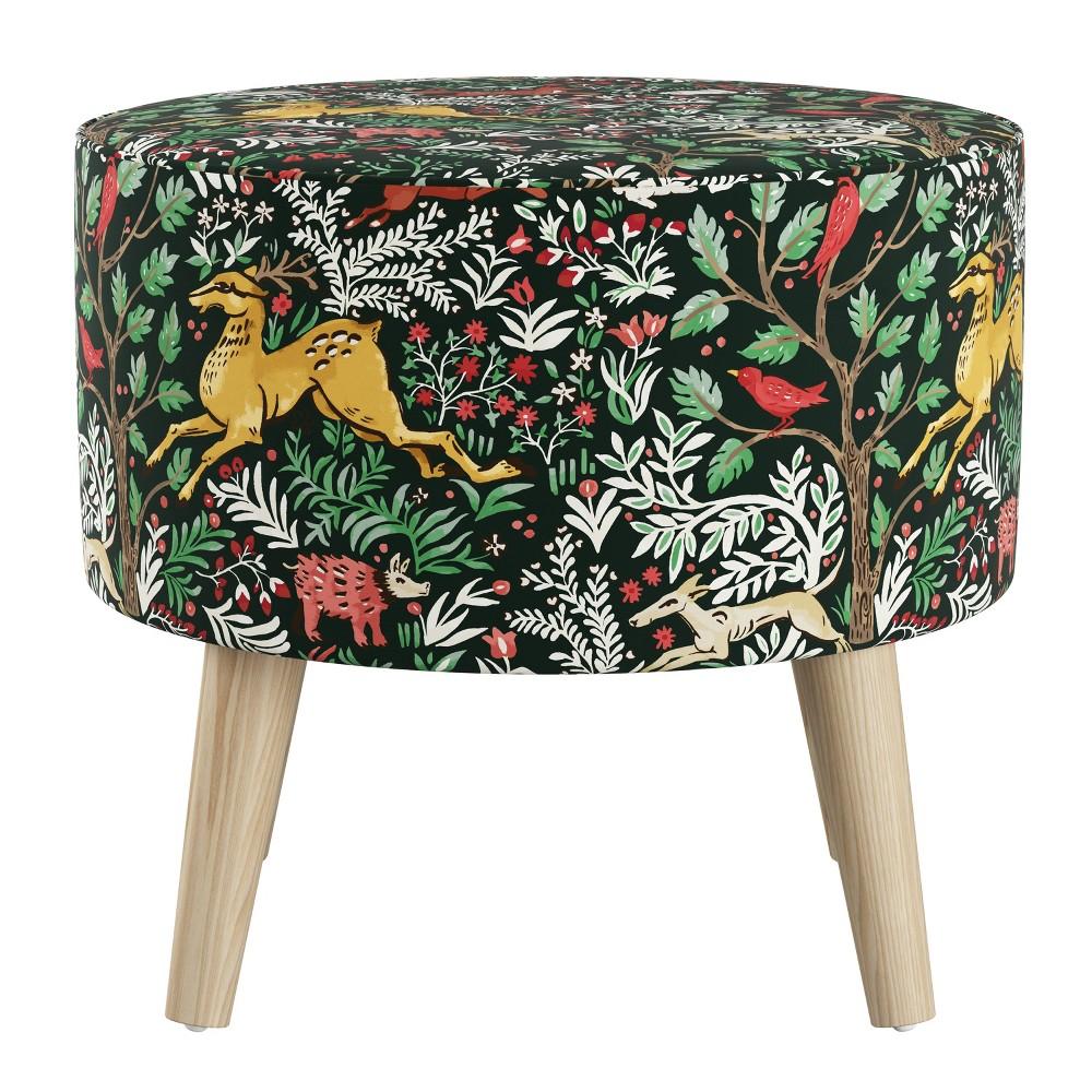 Round Ottoman with Splayed Legs Frolic Evergreen - Skyline Furniture