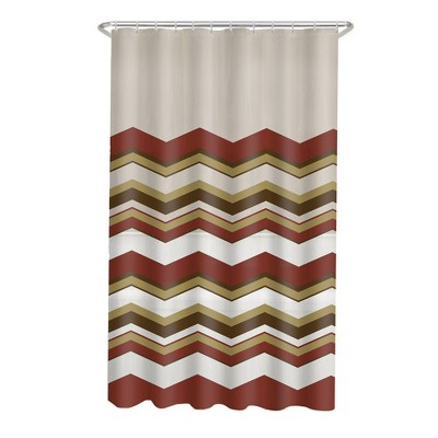 13pc Chevron PEVA Shower Curtain and Rings Set - Zenna Home
