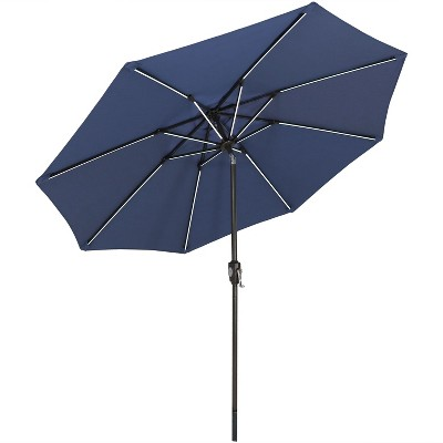 Aluminum Market Tilt Solar Patio Umbrella 9' Fade-Resistant - Navy Blue - Sunnydaze Decor