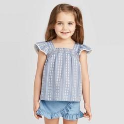 Toddler Girls' Tank Top Woven Blouse - art class™ Blue