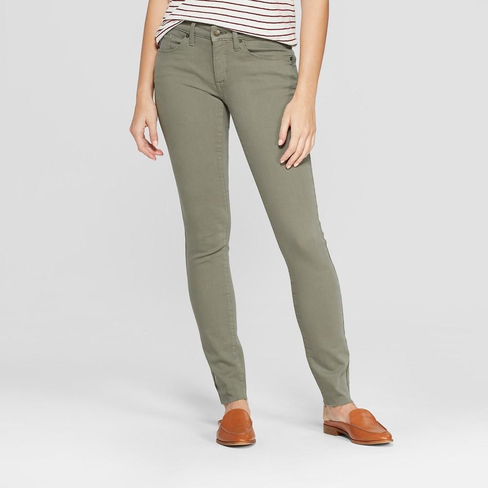 Women's Mid-Rise Raw Hem Skinny Jeans - Universal Thread Olive 16 Short, Green