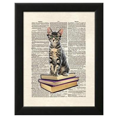 Book Cat Black Wood Framed Art Print