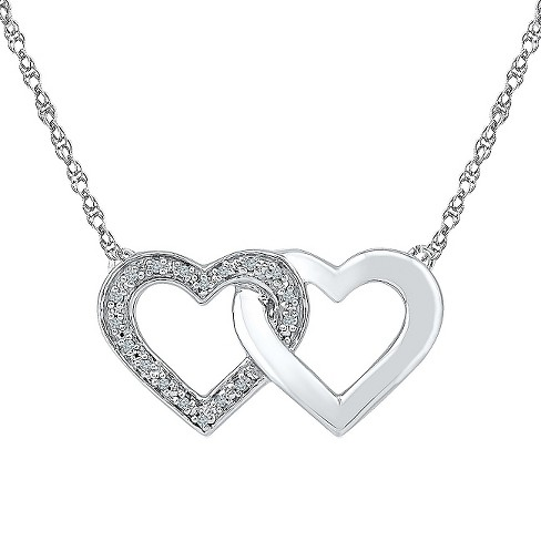 Diamond Accent White Diamond Prong Set Double Heart Necklace in Sterling Silver (IJ-I2-I3) - image 1 of 1